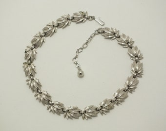 Vintage Trifari Brushed Silver Leaf Choker/Necklace Signed with Key