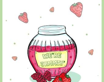 A4/A5 Retro 'We're Jammin' Strawberry and Raspberry Jam Bob Marley Kitchen art print