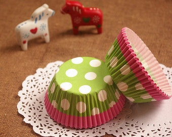 Lime/Pink with White Polka Dot Cupcake Liners (50)