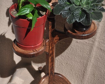 Short Solid Oak Plant Stand for 3 plants
