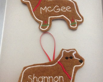 Border Collie Personalized Felt Gingerbread or Angel Ornament