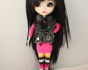 Black Asymmetrical Bang  Straight Wig for Pullip Dolls 1/3 Head size
