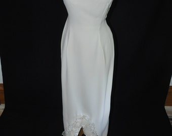 Ivory Sheath Gown with Ruffle - 1970's