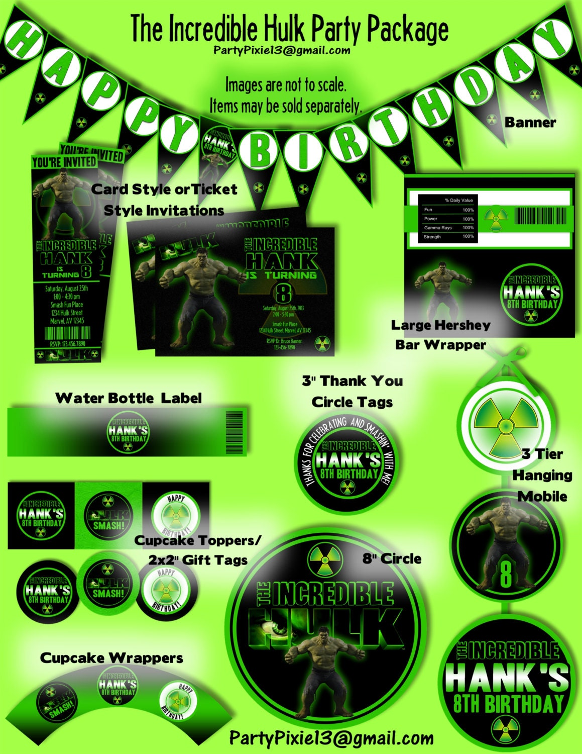 Incredible Hulk Avengers Party Decoration Package and