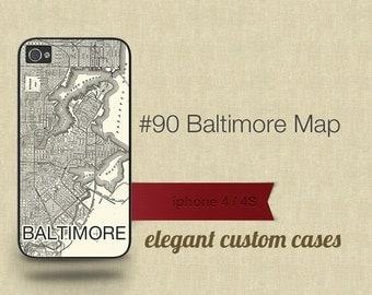 Cell Phone Case Iphone 5 / 5S / 5C 4 / 4S Samsung Galaxy S3 / S4 -Map of Baltimore Maryland Number 90