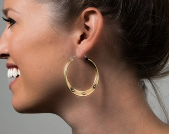 Small Brass Hoops with Studs