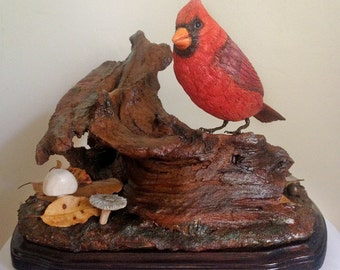 Hand Carved Northern Cardinal Sculpture