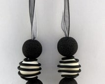 Necklace Black White and Grey - Fimo Cernit