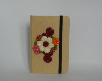 Notebook decorated with flowers  Cernit - Fimo
