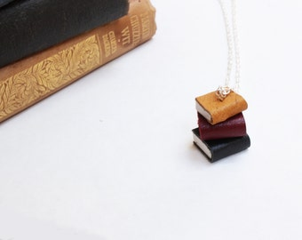 Colourful Book Stack Necklace - Pile of Books Yellow, Maroon, & Black Leather - Miniature Book Necklace - OOAK Book Jewellery