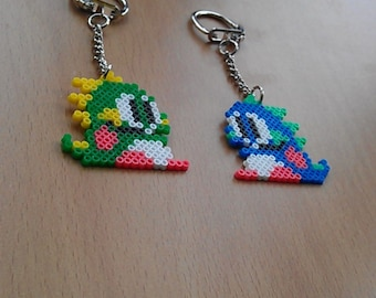 Handmade Bubble Bobble Bead Sprite Keyring's. Retro! Bub and Bob.