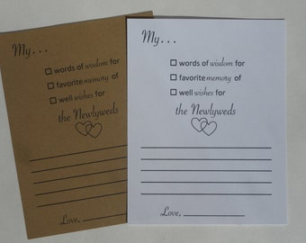 Advice Cards for the Newlyweds - Wish Cards - Wedding - Guest book - Wedding Guest Book
