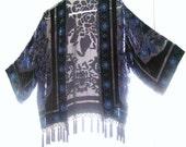Sale 69 was 75 Vintage BURNOUT Velvet Decp  BEADED  Kimono Jacket