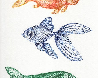 Three Fish Watercolor Giclee Print
