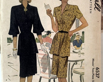 1946 Vintage Two-Piece Suit Dress // McCall Printed Pattern 6537 // Misses' Size 16, Bust 34