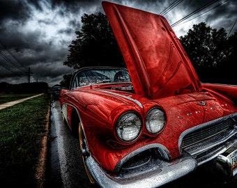 Old Corvette Print, Photography, Classic, 1961, Vintage Car, Red Corvette, Parade, Fine Art Photography, 5x7, 8x10, 11x14