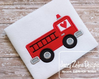 Valentine Firetruck Applique embroidery design - Valentines day appliqué design - Valentine appliqué design