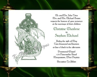 dragon invitation rsvp celtic dragon wedding invitation irish celtic medieval wedding invitation - Medieval Wedding Invitations