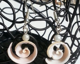Handmade Shell Earrings with Pearl Accents