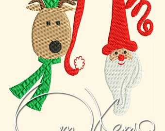 MACHINE EMBROIDERY FILE - Christmas Santa and deer