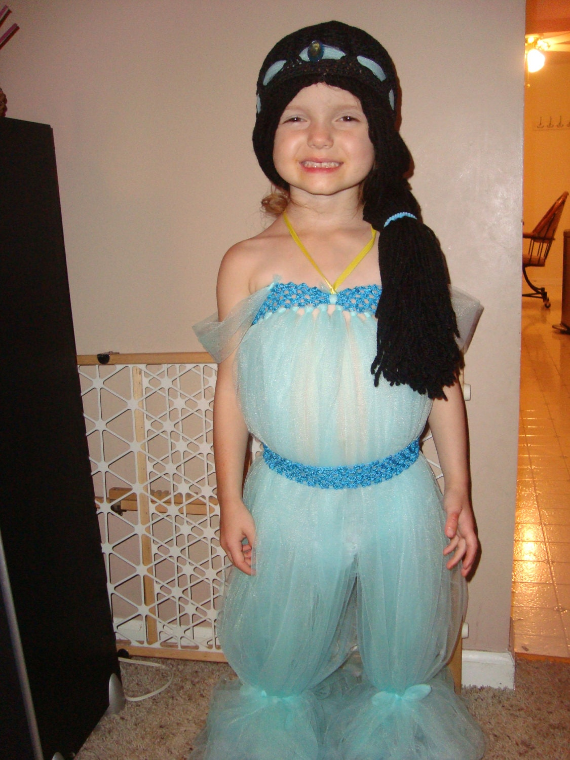 Princess Jasmine Inspired Tutu Outfit And Wig Hat Halloween