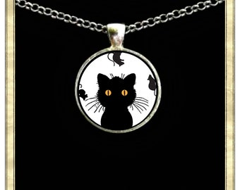 Crazy Cat - Handmade pendant bezel with glass tile, Antique Bronze or Silver