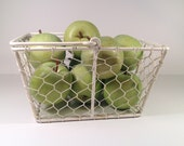 Lovely French Country Shabby Chic Vintage Fruit and Vegetable Metal Chicken Wire Basket with Handle - ShabbyAtticTreasures