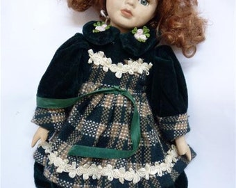 Beautiful Vintage Porcelain Doll, with Embroidered Green Velvet Clothing, H 30 cm