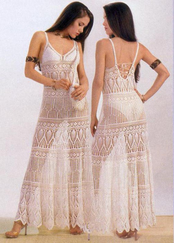 Crochet Stitches For Dresses : Maxi dress crochet PATTERN, maxi crochet skirt pattern, HQ charts with ...
