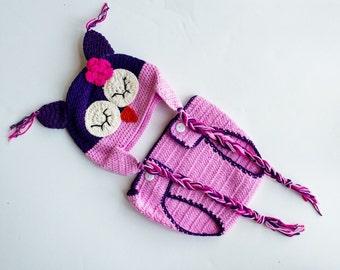 Newborn baby girl owl hat and diaper cover set, sleepy owl beanie, newborn photo prop,baby shower gift, christmas gift.