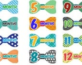 Monthly Baby Age Bow Tie Stickers - Printed