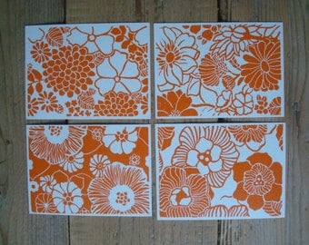 Orange Flowers - set of 4 single cards with original lino print