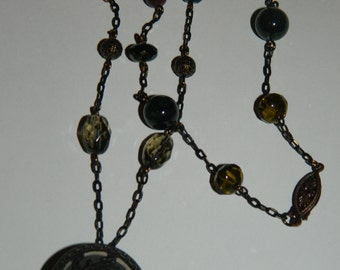 Handmade One of a Kind Antiqued Copper Necklace in Shades of Deep Greens and Browns, Featuring a Vintage Floral Button