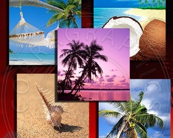 Tropical Paradise I - 4x4 inch squares - 9 Digital Collage Sheets CG-551S - for Scrapbooking, Coasters, Magnets, Arts and Crafts