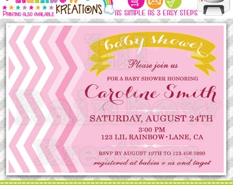 277: DIY - Pink Chevron Party Invitation Or Thank You Card