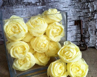 Yellow Crepe Paper Rose Handmade- Set of 20