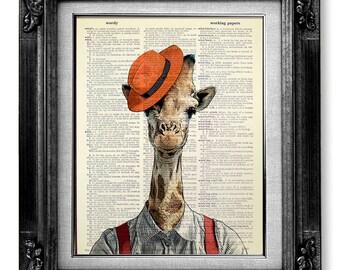 DECORATIVE ART, Wall Hanging, GIRAFFE Art Print, Giraffe Decor, Giraffe Wall Art, Giraffe Wall Decor, Giraffe Painting - Orange Hat Giraffe