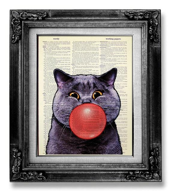 Whimsical CAT art Print, GEEKERY Cat Decor, Geek Cat Painting, HIPSTER Cat Wall Art, Cool Cat Poster, Funny Office Art - Bubble Cat Artwork