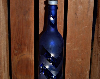 Lighted Chevron Etched Blue Wine Bottle