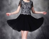 023. Elegant Court Lace Hook Embroidery False Two Piece Party Dress/ European Stylish Patchwork Pleated Chiffon Skirt