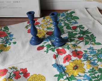1960s Floral Tablecloth / Mid Century Tablecloth / Cotton Vintage Cloth