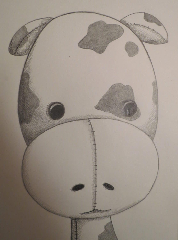 Cute Baby Cow Calf Nursery Art 8x10 Original Pencil