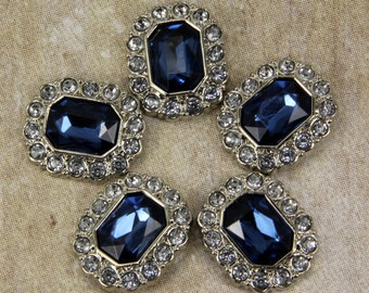 Sapphire Blue Rhinestone Buttons -10 Acrylic Rhinestone Buttons Surrounded by Clear Rhinestones - 25mm