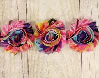"Fiesta Shabby  ""Multi"" stripe Red, Purple, Pink, Yellow and Blue Shabby Chiffon Flower -  shabby flower trim, shabby chiffon rose trim"