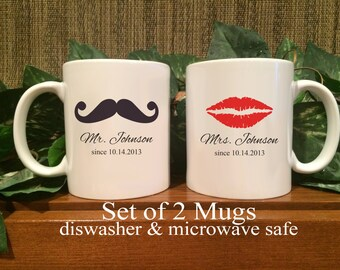 Personalized Mr. & Mrs. Coffee Mugs, Shower Gift, Wedding Gift, Anniversary Gift