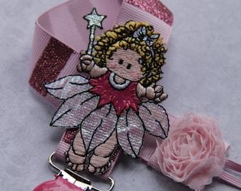 Pacifier Clip- Pink Glitter Fairy Princess