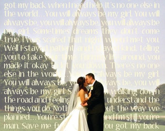 Customizable photo with song lyrics print