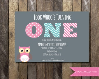 Owl First Birthday Invitation, Owl Birthday Invitation, First Birthday Invitation, Printable Invitation, Owl Invitation, Pink, Owl, Invite