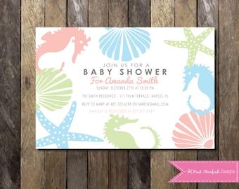 Under The Sea Baby Shower Invitation, Baby Shower Invitation, Ocean Baby  Shower, Nautical