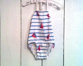 Vintage Baby Swimsuit/ Blue and White Striped Sailboat Buster Brown Swimsuit/